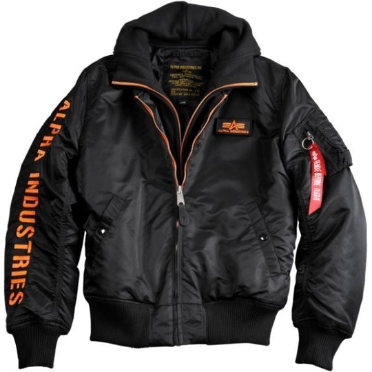 Alpha Industries Bomber Jacke MA-1 D-Tec SE schwarz / orange 2XL