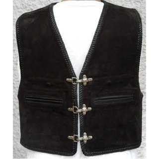 Cha Cha KAI Leather Waistcoat Nubuck Leather with Piping...