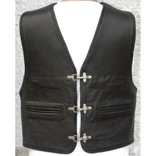 Cha Cha KAI Leather vest smooth leather with piped pockets