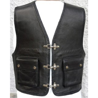 Cha Cha KAI Leather vest smooth leather outside pockets
