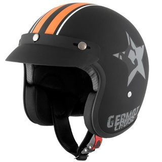Germot GM 77 Star casco jet negro / naranja M