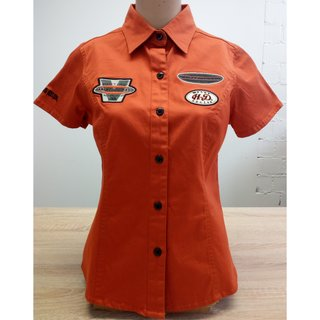 HD Stretch Woven Kurzarm Bluse Orange Damen