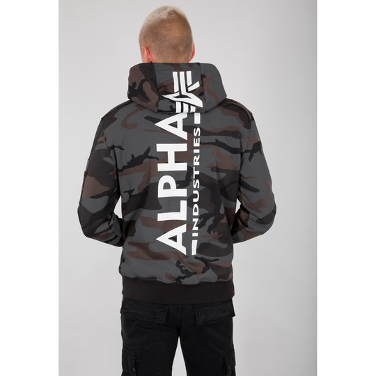 Alpha Industries Back Print Hoody black camo S