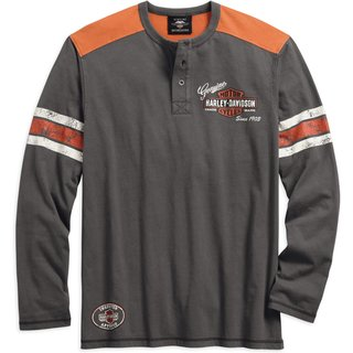 HD Henley Shirt Genuine Oil Can grau / orange