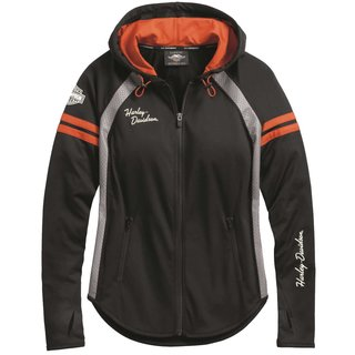 HD Zip Hoodie Performance Mesh Damen schwarz / orange
