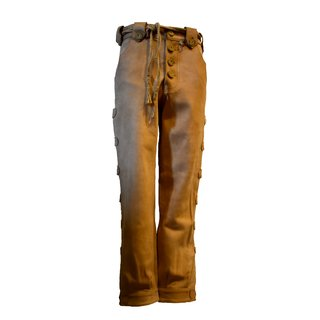Traditional leather trousers, light brown, with button...