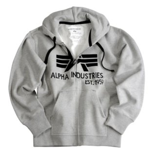 Alpha Industries Big A Classic Zip Hoody grau